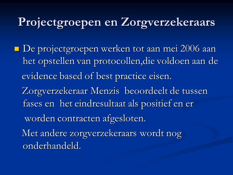 Projectgroepen en Zorgverzekeraars De projectgroepen werken tot aan mei 2006 aan het opstellen van protocollen,die voldoen aan de De projectgroepen we