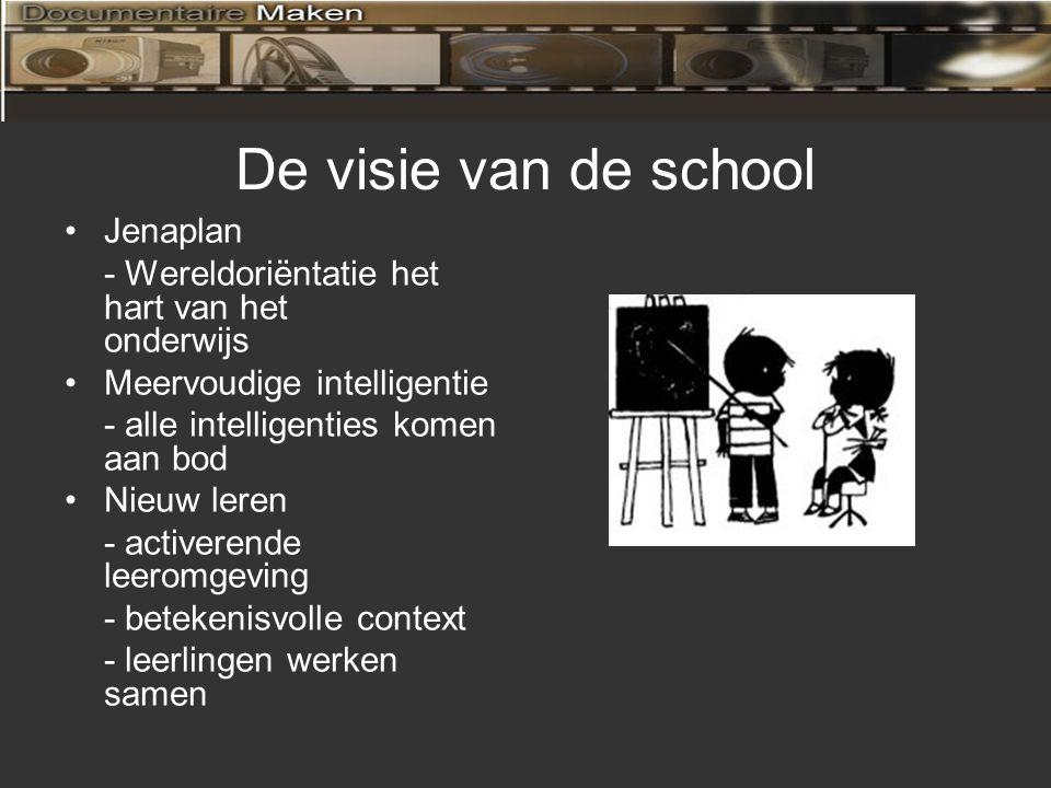 De visie van de school Jenaplan - Wereldoriëntatie het hart van het onderwijs Meervoudige intelligentie - alle intelligenties komen aan bod Nieuw leren - activerende leeromgeving - betekenisvolle context - leerlingen werken samen