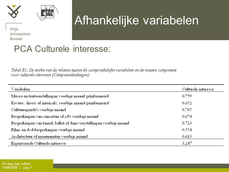 De weg naar cultuur 11/06/2009 | pag. 7 Afhankelijke variabelen PCA Culturele interesse: