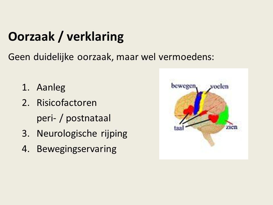 Oorzaak / verklaring Geen duidelijke oorzaak, maar wel vermoedens: 1.Aanleg 2.Risicofactoren peri- / postnataal 3.Neurologische rijping 4.Bewegingserv