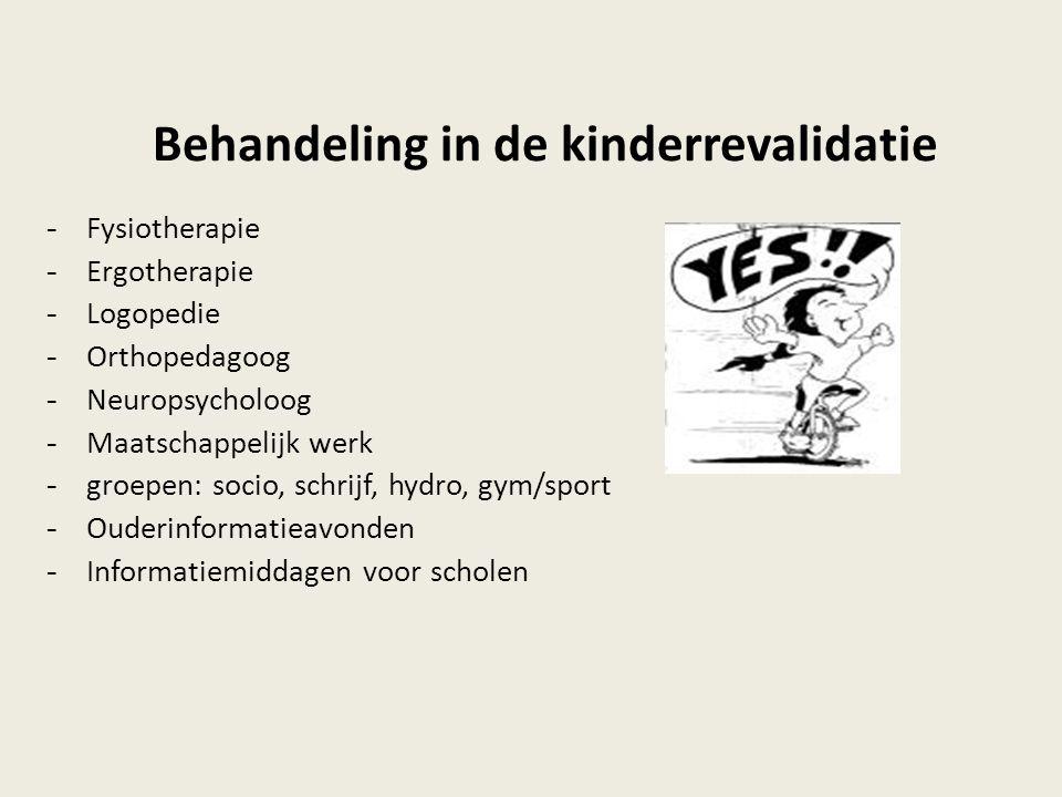 Behandeling in de kinderrevalidatie - Fysiotherapie - Ergotherapie - Logopedie - Orthopedagoog - Neuropsycholoog - Maatschappelijk werk - groepen: soc