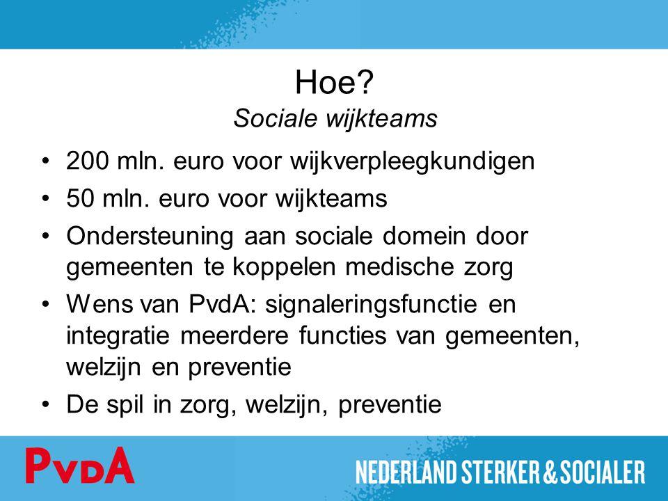 Hoe? Sociale wijkteams 200 mln. euro voor wijkverpleegkundigen 50 mln. euro voor wijkteams Ondersteuning aan sociale domein door gemeenten te koppelen