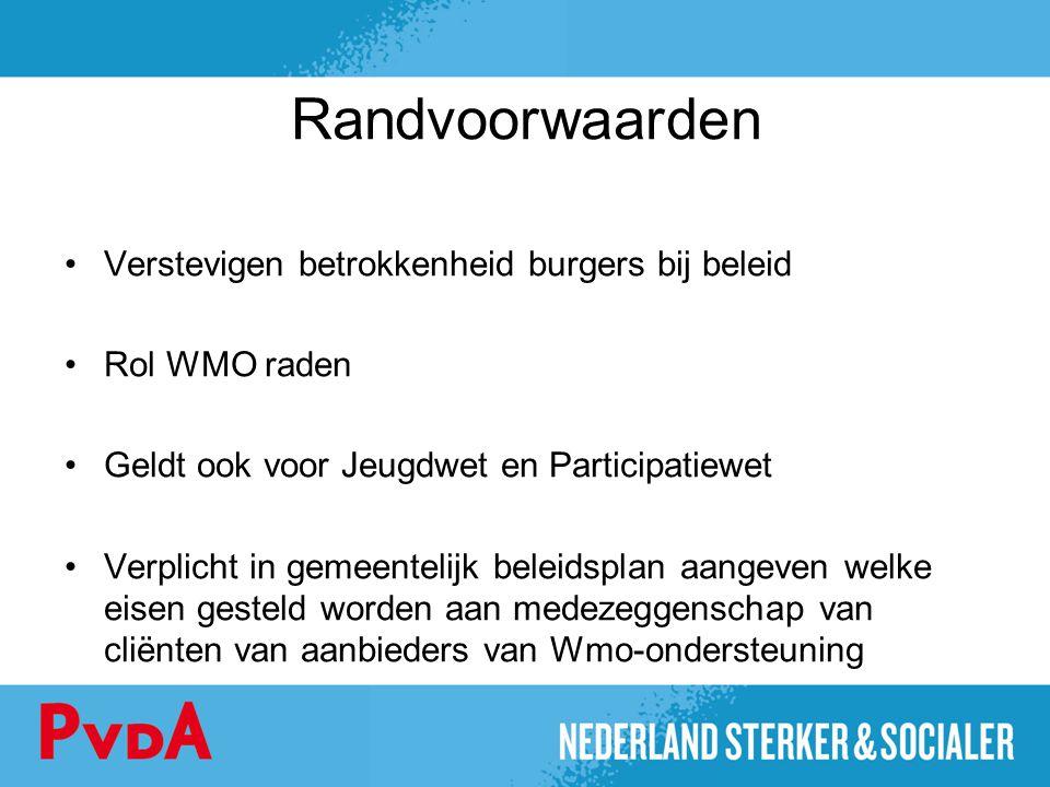 Randvoorwaarden Verstevigen betrokkenheid burgers bij beleid Rol WMO raden Geldt ook voor Jeugdwet en Participatiewet Verplicht in gemeentelijk beleid
