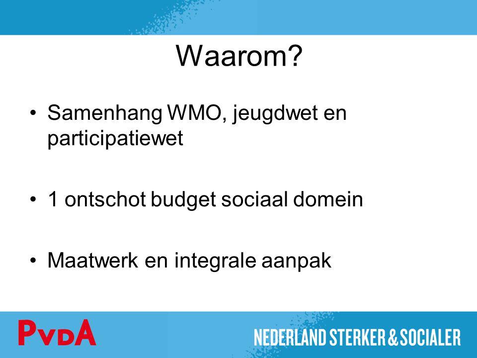 Waarom? Samenhang WMO, jeugdwet en participatiewet 1 ontschot budget sociaal domein Maatwerk en integrale aanpak
