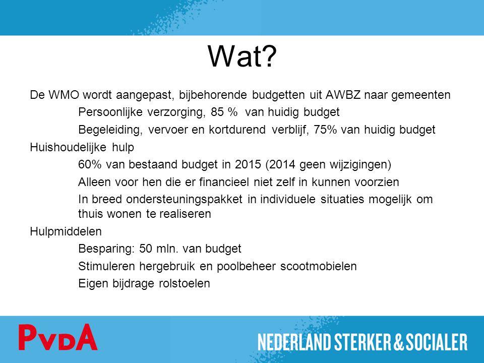 Wat? De WMO wordt aangepast, bijbehorende budgetten uit AWBZ naar gemeenten Persoonlijke verzorging, 85 % van huidig budget Begeleiding, vervoer en ko