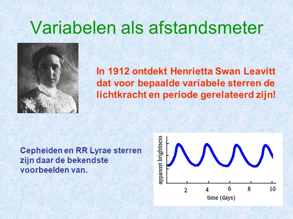 Variabelen als afstandsmeter In 1912 ontdekt Henrietta Swan Leavitt dat voor bepaalde variabele sterren de lichtkracht en periode gerelateerd zijn.