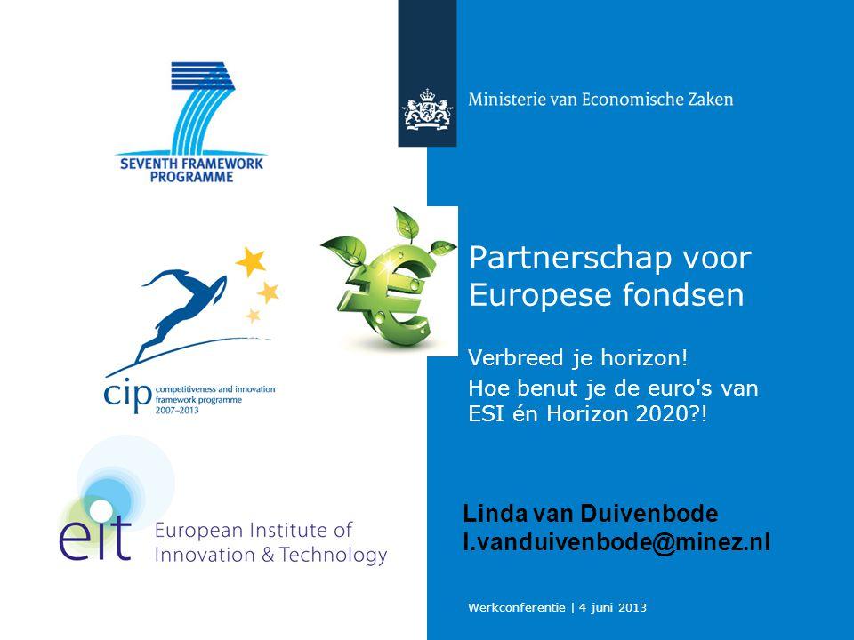 Werkconferentie | 4 juni 2013 Ministerie van Economische Zaken 12 Expertisecentrum Internationaal Onderzoek en Innovatie EIOI helpt onderzoekers en ondernemers bij hun samenwerking met internationale partners op onderzoek, technologie en innovatie: Horizon 2020/ 7e KaderProgramma (KP7)/ CIP Eureka/ Eurostars Bilaterale Technologie activiteiten/ Technology MatchMaking EiOI@agentschapnl.nl (088) 602 52 50 Overzicht adviseurs EiOI (national contact points KP7 thema's): https://www.agentschapnl.nl/content/overzicht-eioi-adviseurs Horizon 2020: www.agentschapnl.nl/horizon2020www.agentschapnl.nl/horizon2020 Eureka/ Eurostars: www.agentschapnl.nl/eurostarswww.agentschapnl.nl/eurostars Technology MatchMaking: http://www.agentschapnl.nl/tmmhttp://www.agentschapnl.nl/tmm