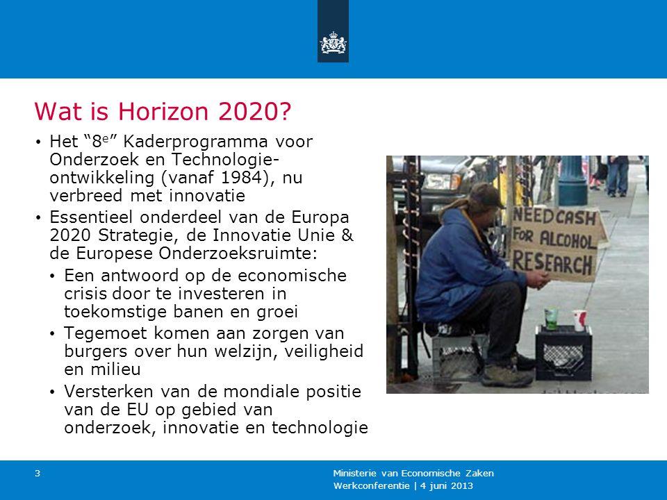 Werkconferentie | 4 juni 2013 Ministerie van Economische Zaken 3 Wat is Horizon 2020.