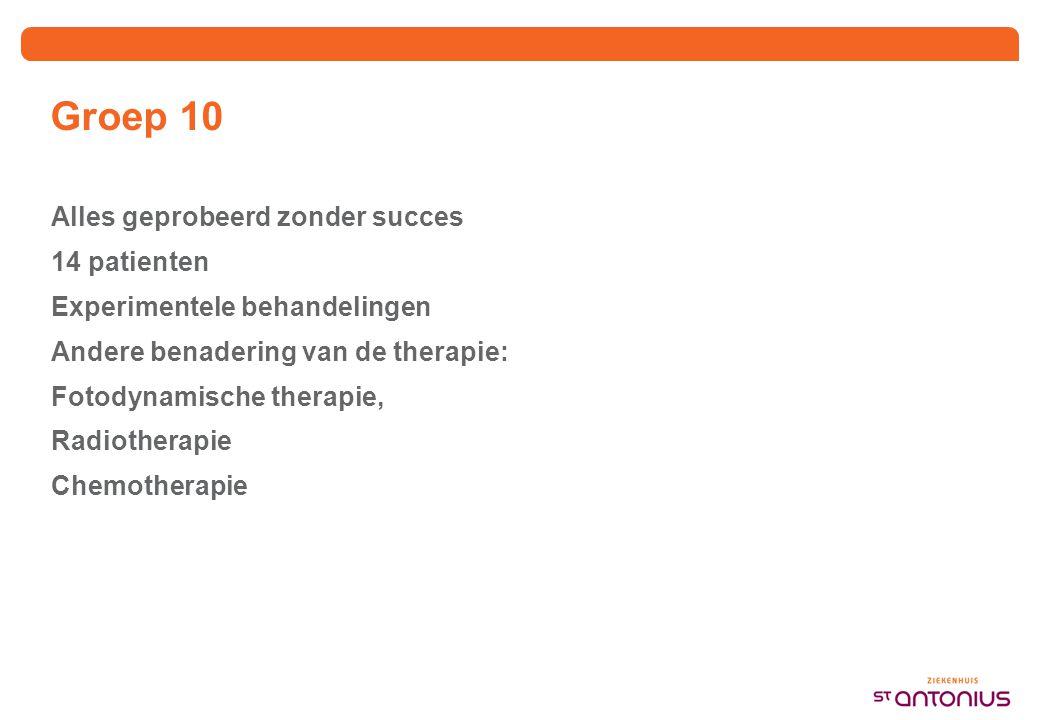 Groep 10 Alles geprobeerd zonder succes 14 patienten Experimentele behandelingen Andere benadering van de therapie: Fotodynamische therapie, Radiotherapie Chemotherapie