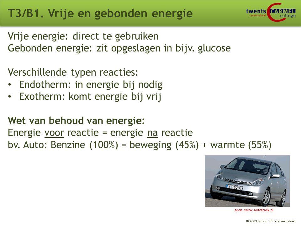© 2009 Biosoft TCC - Lyceumstraat T3. Energie B1. Vrije en gebonden energie B2. Enzymen B3. Aërobe dissimilatie van glucose B4. Fotosynthese B5. Ander