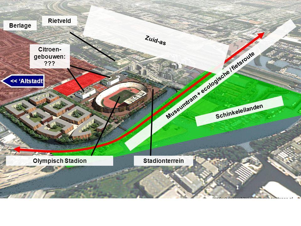 Schinkeleilanden Museumtram + ecologische / fietsroute Zuid-as Rietveld Olympisch Stadion Citroen- gebouwen: ??? << 'Altstadt' Berlage Stadionterrein