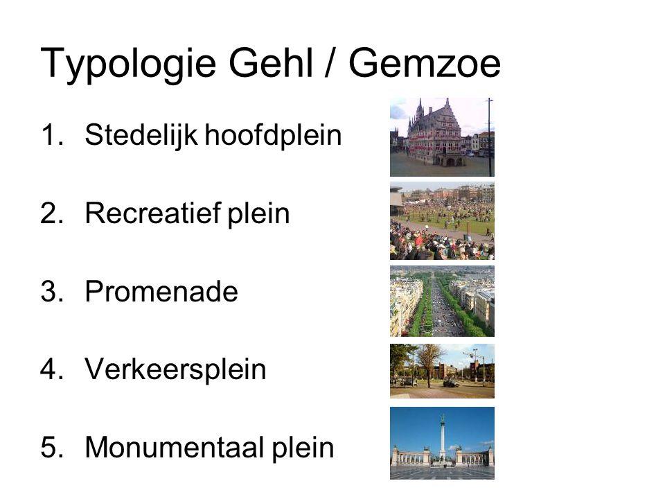 Typologie Gehl / Gemzoe 1.Stedelijk hoofdplein 2.Recreatief plein 3.Promenade 4.Verkeersplein 5.Monumentaal plein