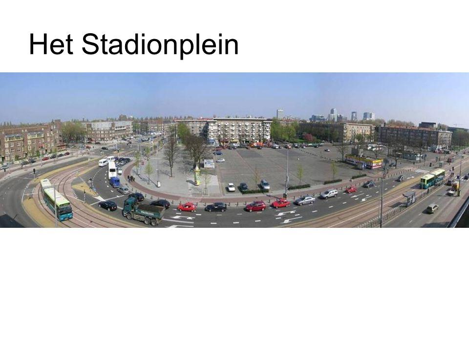 Stadionplein – Streefbeeld 1.nieuw groot Amsterdams verblijfsplein 2.buurt en stad 3.auto's ondergronds, publiek bovengronds 4.beschut 5.groen 6.stadslandschap 7.poort 8.genius loci 9.Olympisch Stadion