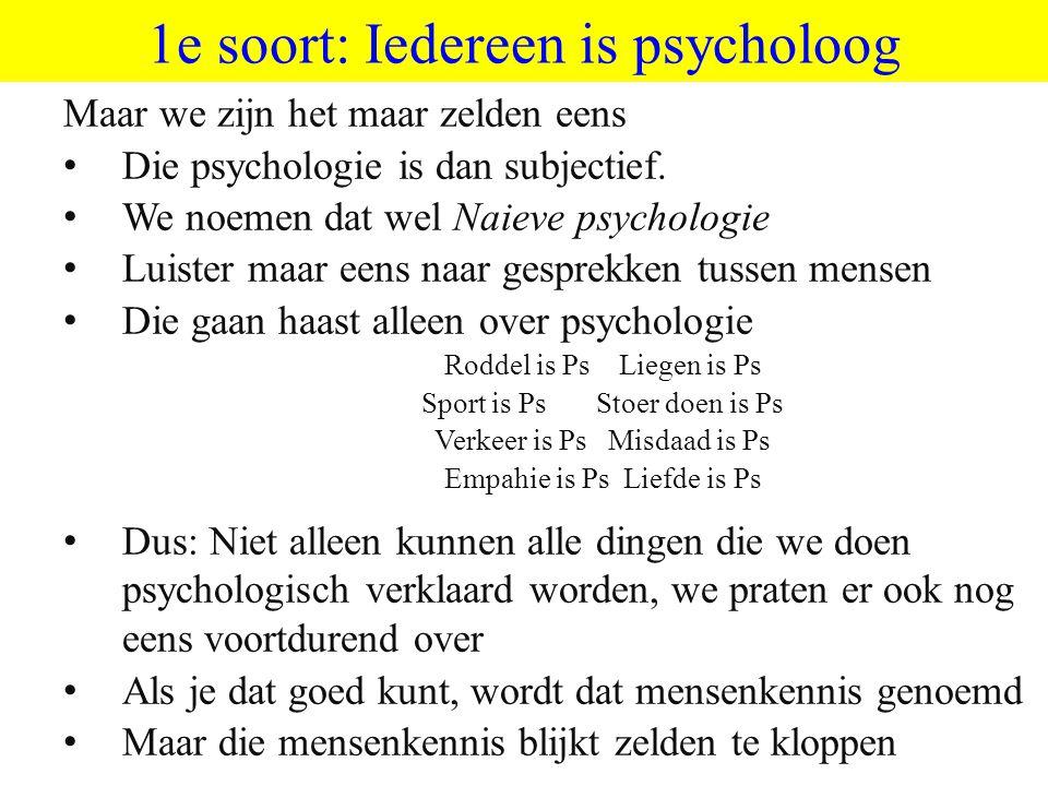 1e soort: Iedereen is psycholoog Maar we zijn het maar zelden eens Die psychologie is dan subjectief. We noemen dat wel Naieve psychologie Luister maa