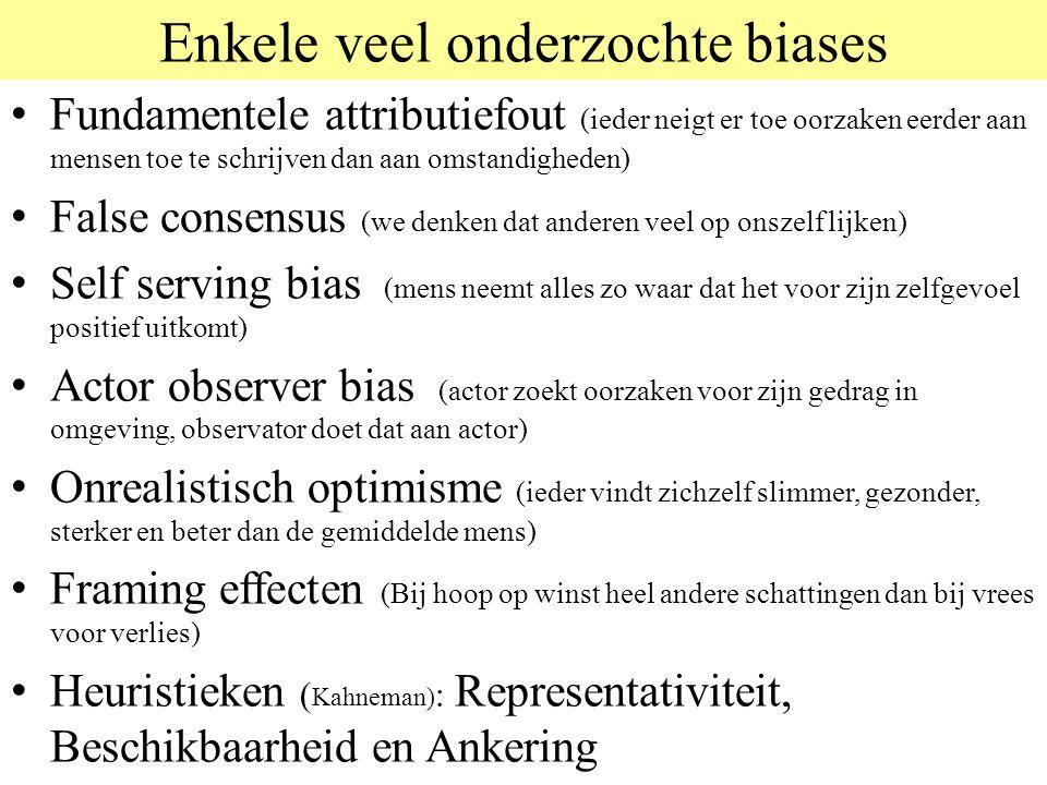 Enkele veel onderzochte biases Fundamentele attributiefout (ieder neigt er toe oorzaken eerder aan mensen toe te schrijven dan aan omstandigheden) Fal