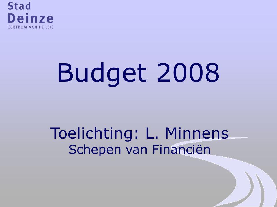 Budget 2008 Toelichting: L. Minnens Schepen van Financiën
