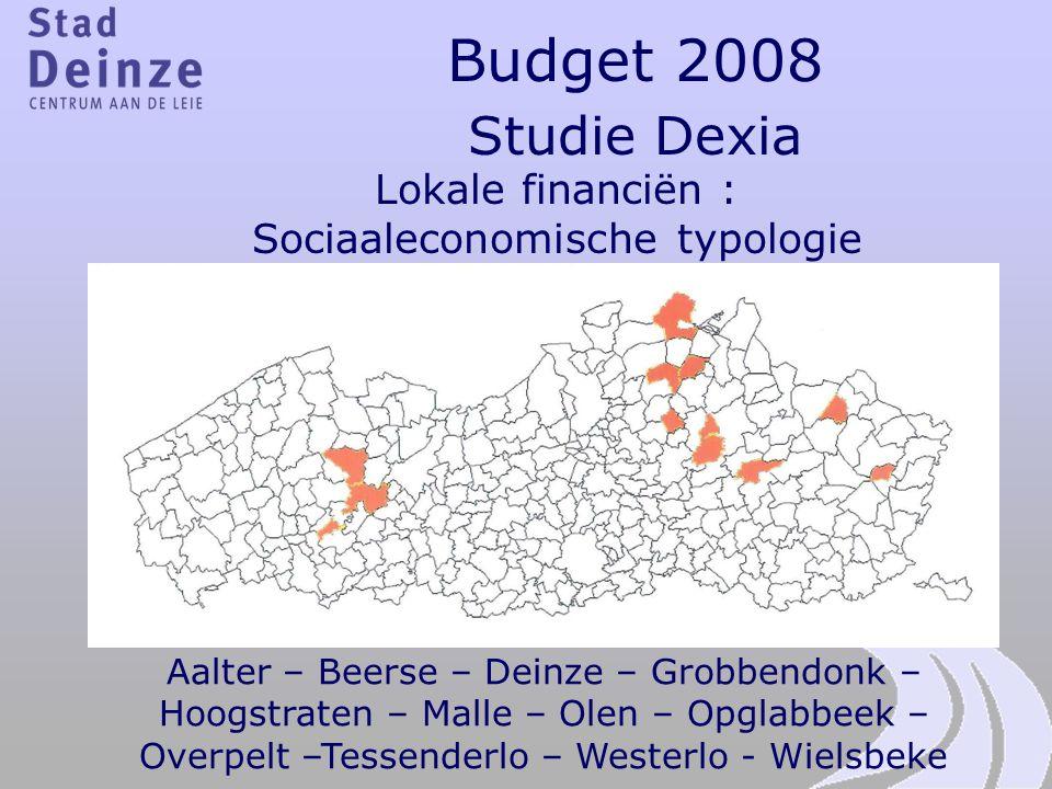 Budget 2008 Studie Dexia Lokale financiën : Sociaaleconomische typologie Aalter – Beerse – Deinze – Grobbendonk – Hoogstraten – Malle – Olen – Opglabb