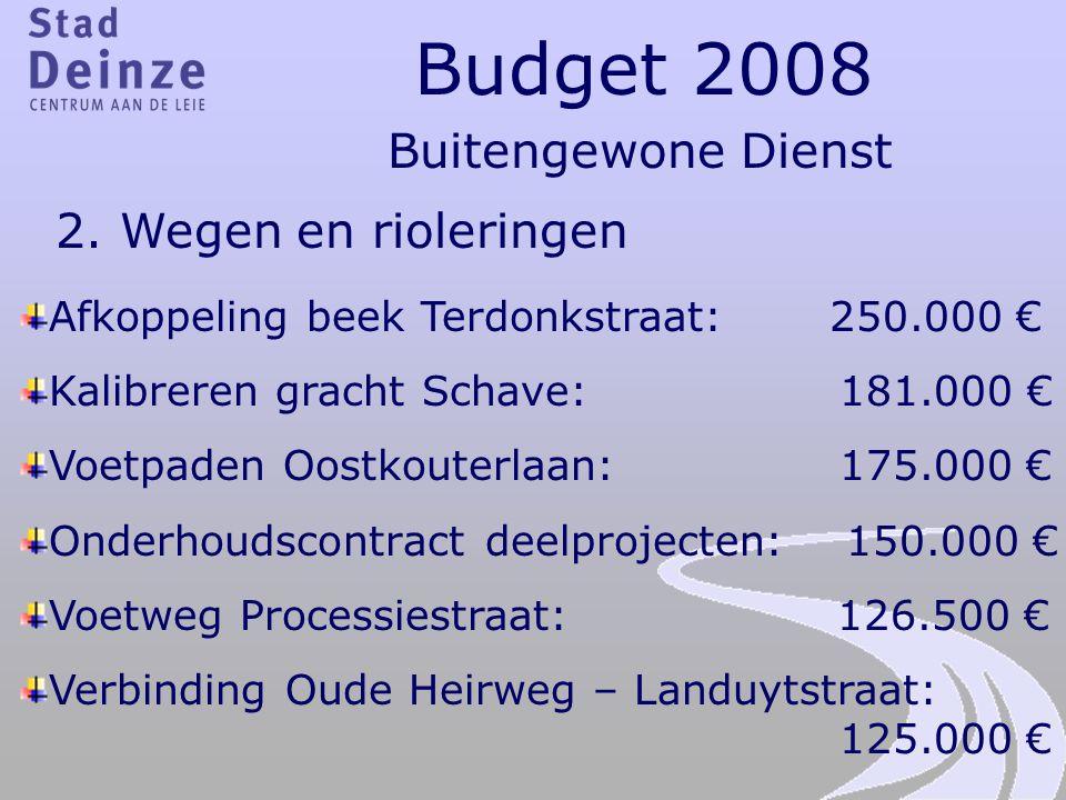 Budget 2008 Buitengewone Dienst 2. Wegen en rioleringen Afkoppeling beek Terdonkstraat: 250.000 € Kalibreren gracht Schave: 181.000 € Voetpaden Oostko