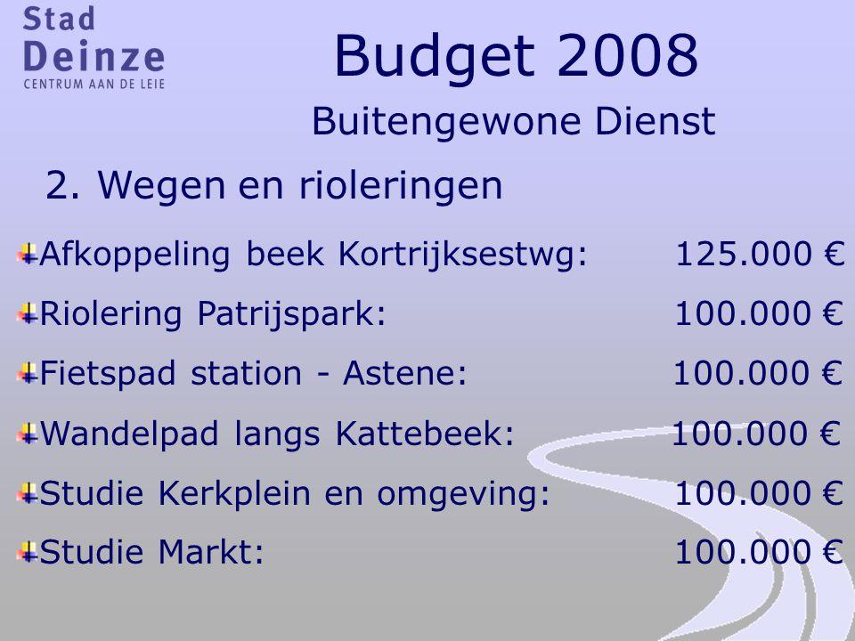 Budget 2008 Buitengewone Dienst 2. Wegen en rioleringen Afkoppeling beek Kortrijksestwg: 125.000 € Riolering Patrijspark: 100.000 € Fietspad station -
