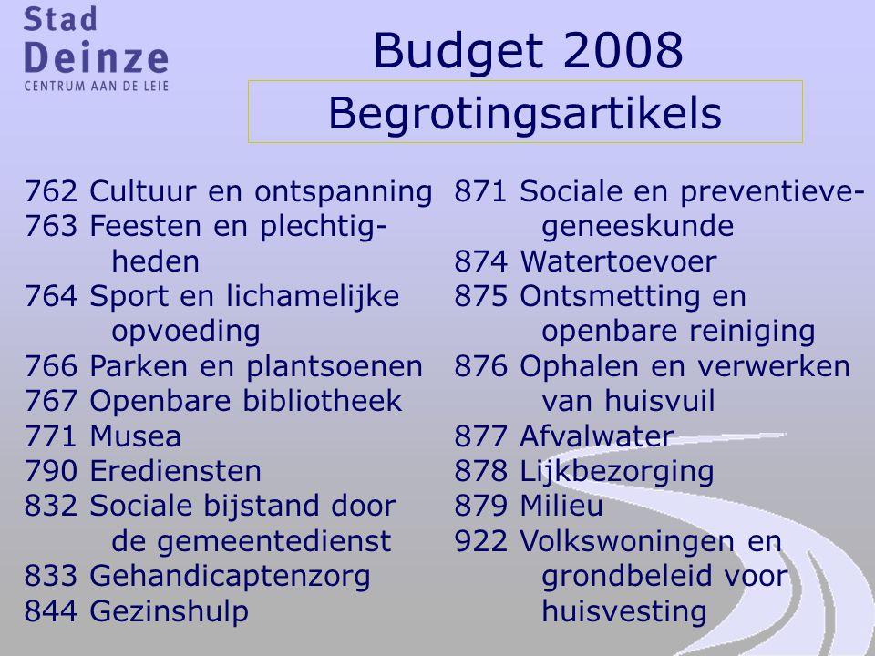 Budget 2008 Begrotingsartikels 762 Cultuur en ontspanning 763 Feesten en plechtig- heden 764 Sport en lichamelijke opvoeding 766 Parken en plantsoenen