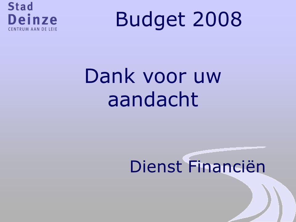 Budget 2008 Dank voor uw aandacht Dienst Financiën