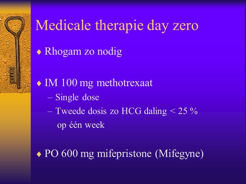 Medicale therapie day zero  Rhogam zo nodig  IM 100 mg methotrexaat –Single dose –Tweede dosis zo HCG daling < 25 % op één week  PO 600 mg mifepris