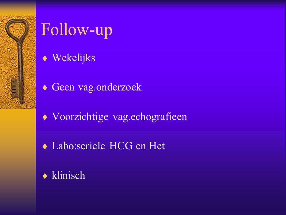 Follow-up  Wekelijks  Geen vag.onderzoek  Voorzichtige vag.echografieen  Labo:seriele HCG en Hct  klinisch