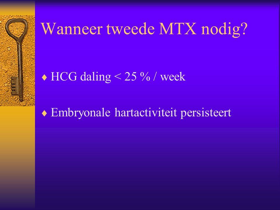 Wanneer tweede MTX nodig?  HCG daling < 25 % / week  Embryonale hartactiviteit persisteert