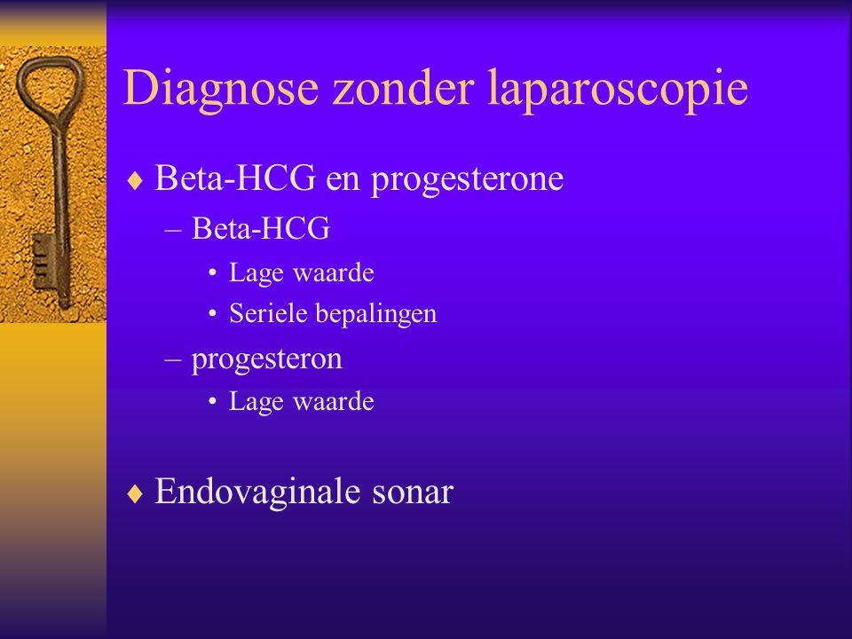 Diagnose zonder laparoscopie  Beta-HCG en progesterone –Beta-HCG Lage waarde Seriele bepalingen –progesteron Lage waarde  Endovaginale sonar
