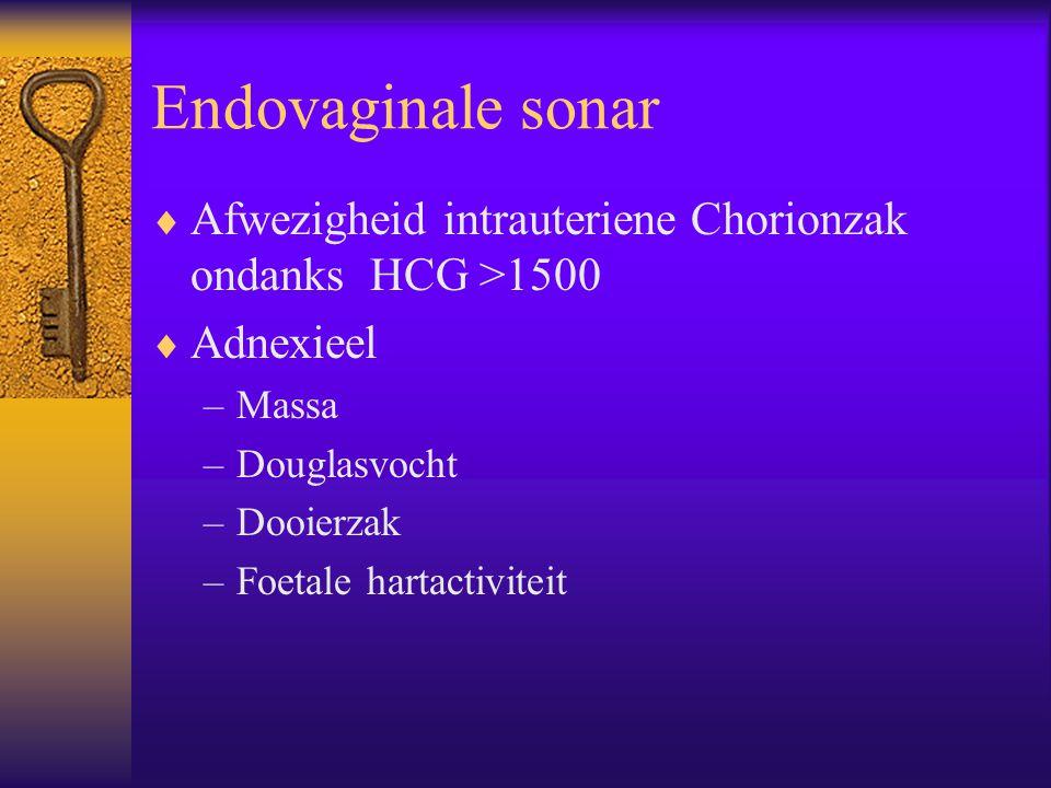 Endovaginale sonar  Afwezigheid intrauteriene Chorionzak ondanks HCG >1500  Adnexieel –Massa –Douglasvocht –Dooierzak –Foetale hartactiviteit