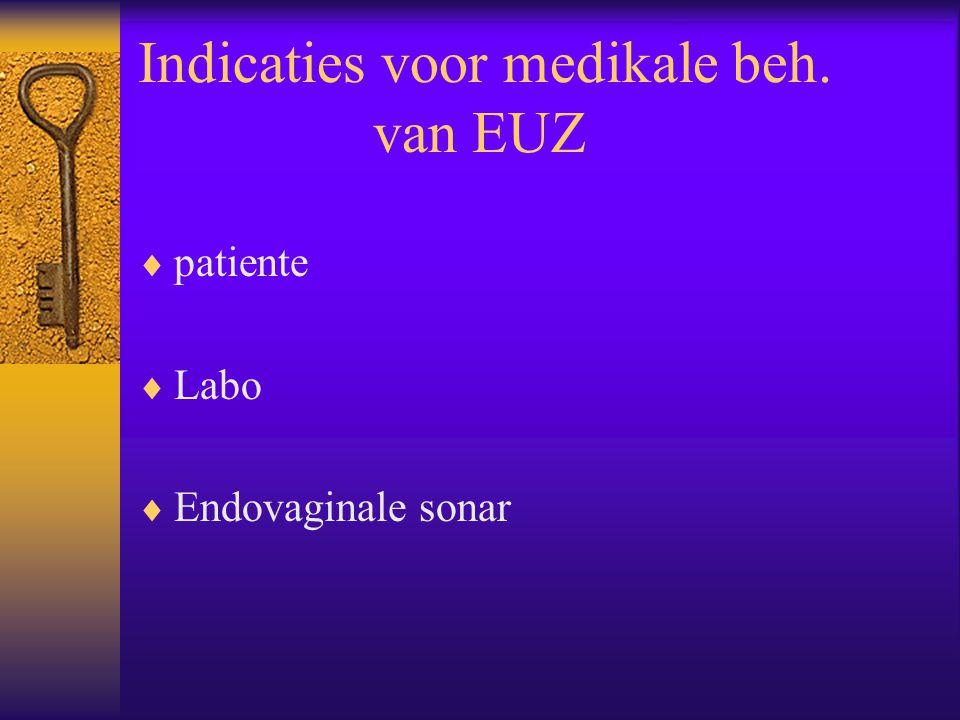 Indicaties voor medikale beh. van EUZ  patiente  Labo  Endovaginale sonar