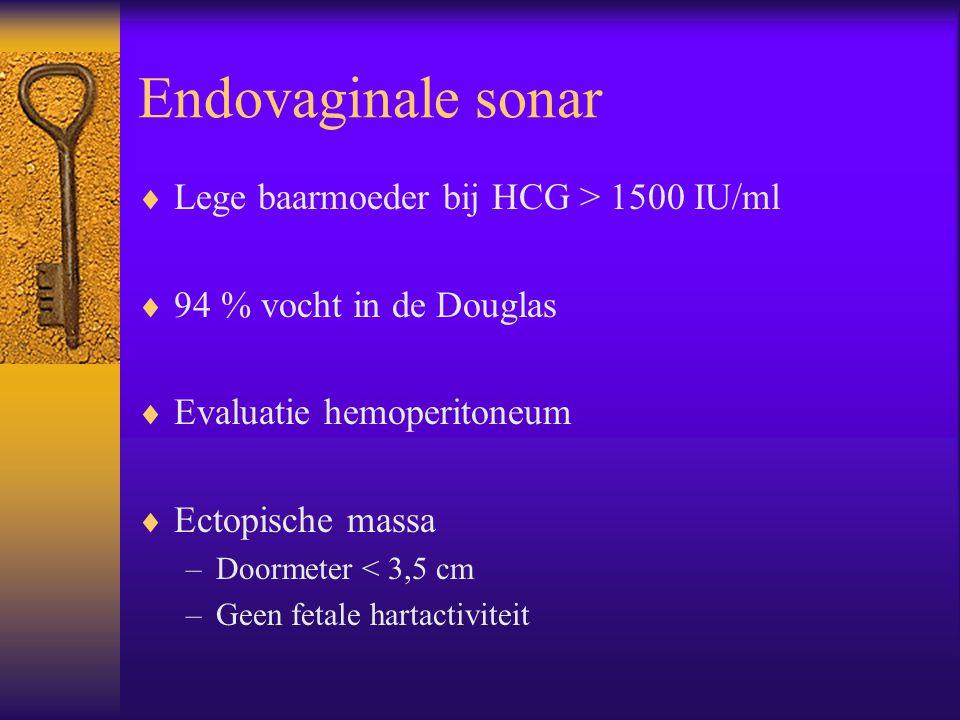 Endovaginale sonar  Lege baarmoeder bij HCG > 1500 IU/ml  94 % vocht in de Douglas  Evaluatie hemoperitoneum  Ectopische massa –Doormeter < 3,5 cm