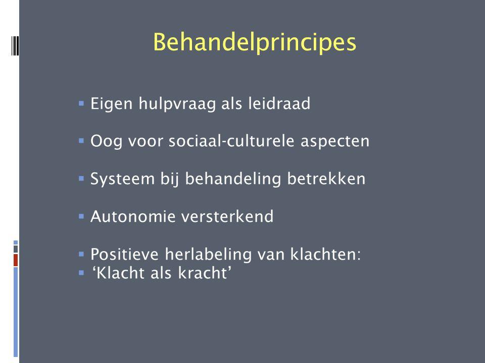 Behandelprincipes  Eigen hulpvraag als leidraad  Oog voor sociaal-culturele aspecten  Systeem bij behandeling betrekken  Autonomie versterkend  P