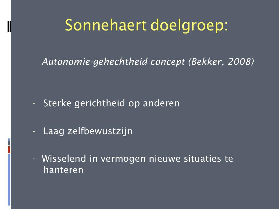 Sonnehaert doelgroep: Autonomie-gehechtheid concept (Bekker, 2008) - Sterke gerichtheid op anderen - Laag zelfbewustzijn - Wisselend in vermogen nieuw