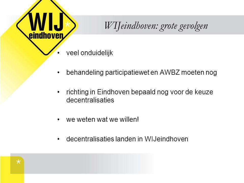 WIJeindhoven: grote gevolgen veel onduidelijk behandeling participatiewet en AWBZ moeten nog richting in Eindhoven bepaald nog voor de keuze decentral