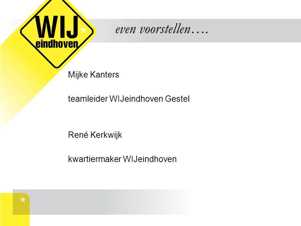 Mijke Kanters teamleider WIJeindhoven Gestel René Kerkwijk kwartiermaker WIJeindhoven even voorstellen…. even voorstellen….