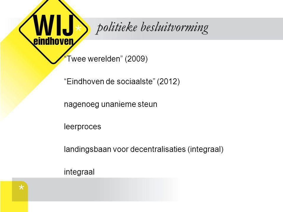 """""""Twee werelden"""" (2009) """"Eindhoven de sociaalste"""" (2012) nagenoeg unanieme steun leerproces landingsbaan voor decentralisaties (integraal) integraal po"""