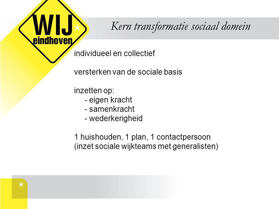 Kern transformatie sociaal domein individueel en collectief versterken van de sociale basis inzetten op: - eigen kracht - samenkracht - wederkerigheid
