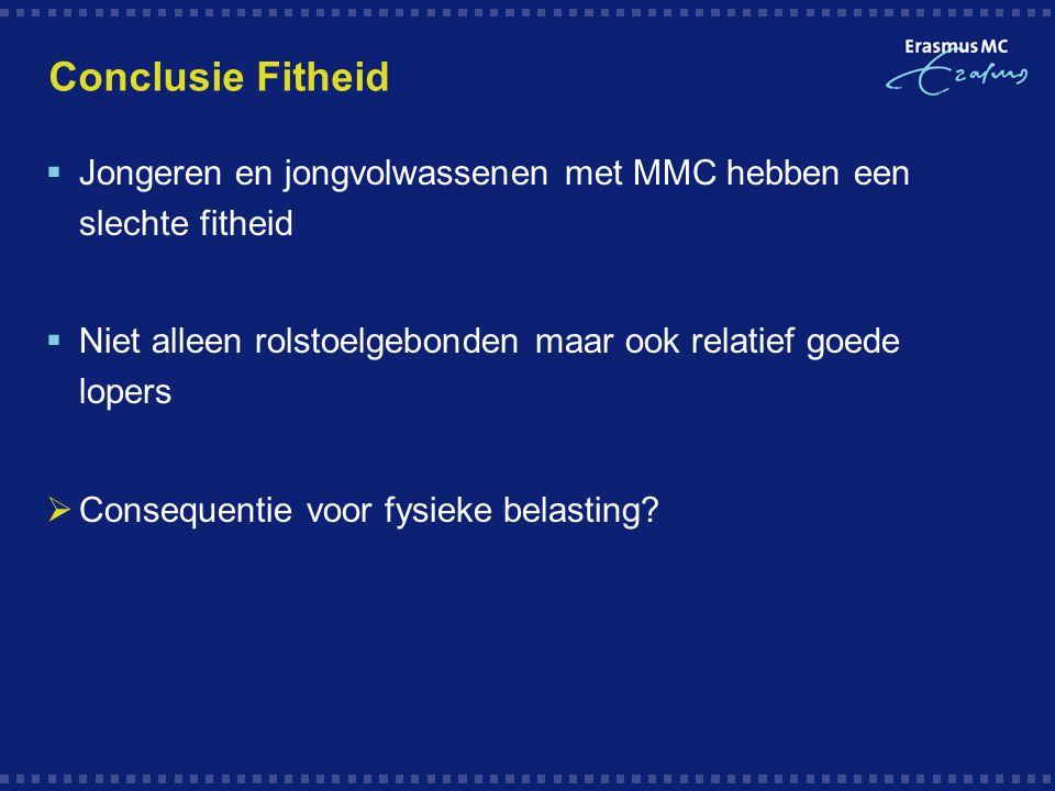 Conclusie Fitheid  Jongeren en jongvolwassenen met MMC hebben een slechte fitheid  Niet alleen rolstoelgebonden maar ook relatief goede lopers  Con