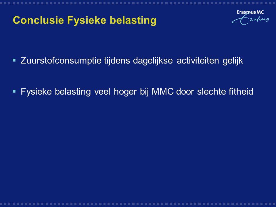 Conclusie Fysieke belasting  Zuurstofconsumptie tijdens dagelijkse activiteiten gelijk  Fysieke belasting veel hoger bij MMC door slechte fitheid