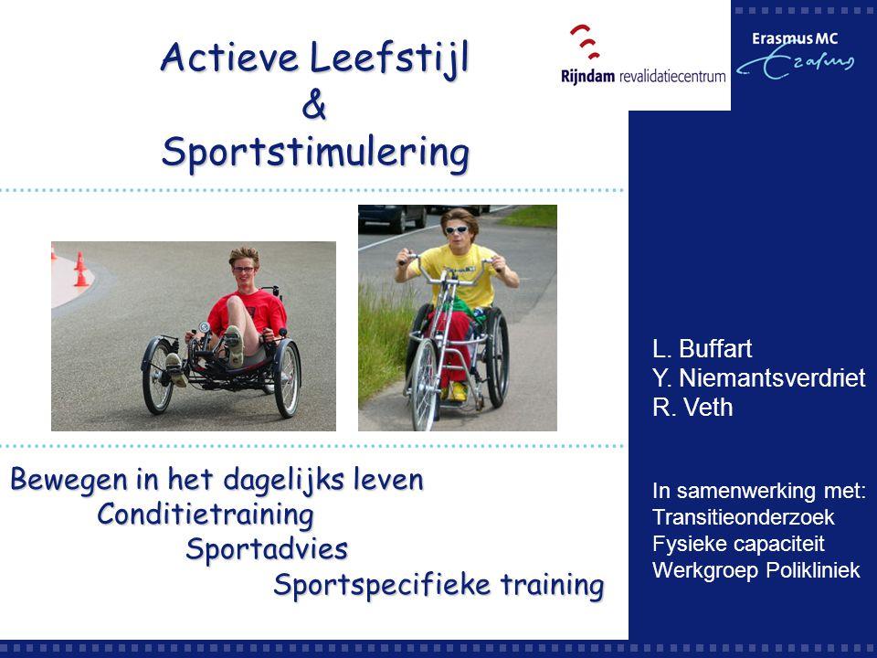 Actieve Leefstijl & Sportstimulering Bewegen in het dagelijks leven ConditietrainingSportadvies Sportspecifieke training L. Buffart Y. Niemantsverdrie