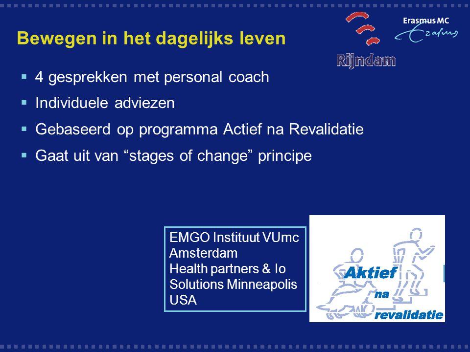 Bewegen in het dagelijks leven  4 gesprekken met personal coach  Individuele adviezen  Gebaseerd op programma Actief na Revalidatie  Gaat uit van