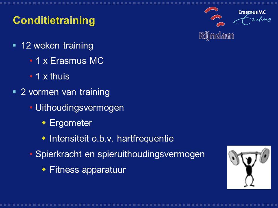 Conditietraining  12 weken training 1 x Erasmus MC 1 x thuis  2 vormen van training Uithoudingsvermogen  Ergometer  Intensiteit o.b.v. hartfrequen