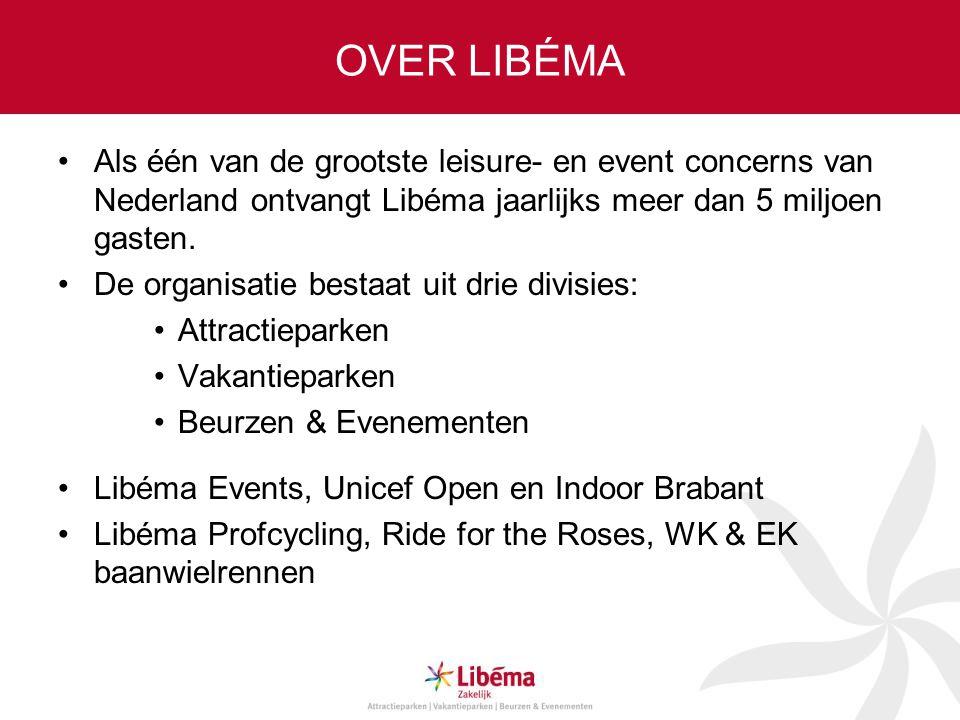 OVER LIBÉMA Als één van de grootste leisure- en event concerns van Nederland ontvangt Libéma jaarlijks meer dan 5 miljoen gasten.