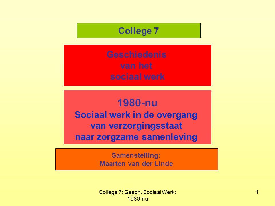 College 7: Gesch. Sociaal Werk: 1980-nu 11 Geschiedenis van het sociaal werk 1980-nu Sociaal werk in de overgang van verzorgingsstaat naar zorgzame sa