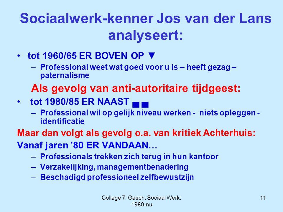 College 7: Gesch. Sociaal Werk: 1980-nu 11 Sociaalwerk-kenner Jos van der Lans analyseert: tot 1960/65 ER BOVEN OP ▼ –Professional weet wat goed voor