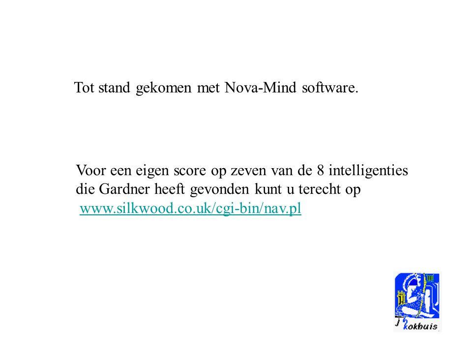 Tot stand gekomen met Nova-Mind software. Voor een eigen score op zeven van de 8 intelligenties die Gardner heeft gevonden kunt u terecht op www.silkw