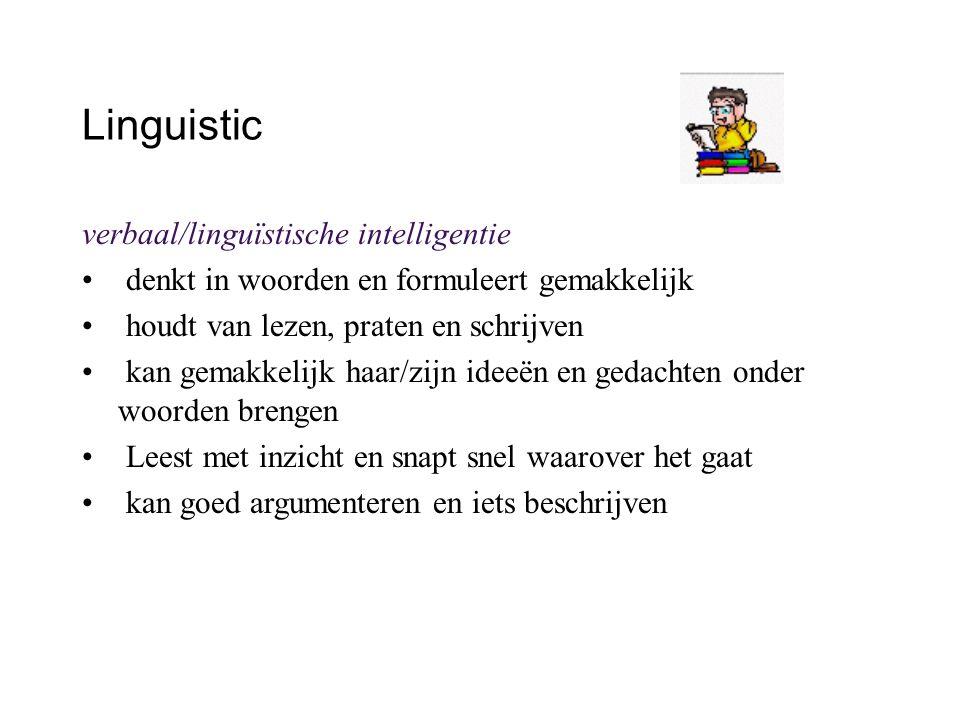 Linguistic verbaal/linguïstische intelligentie denkt in woorden en formuleert gemakkelijk houdt van lezen, praten en schrijven kan gemakkelijk haar/zi