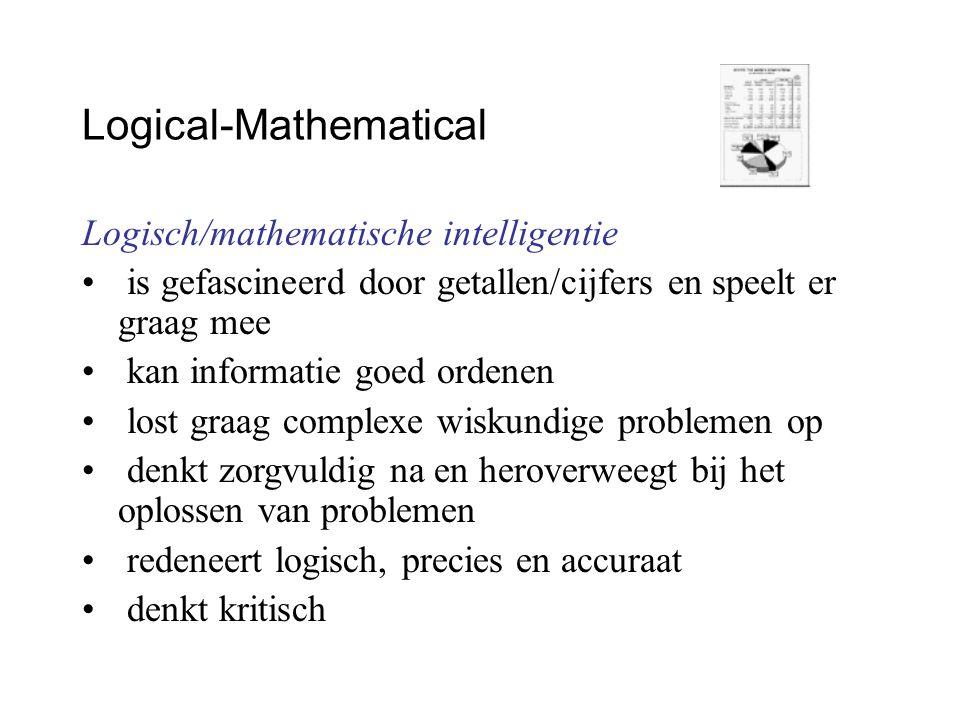 Logical-Mathematical Logisch/mathematische intelligentie is gefascineerd door getallen/cijfers en speelt er graag mee kan informatie goed ordenen lost