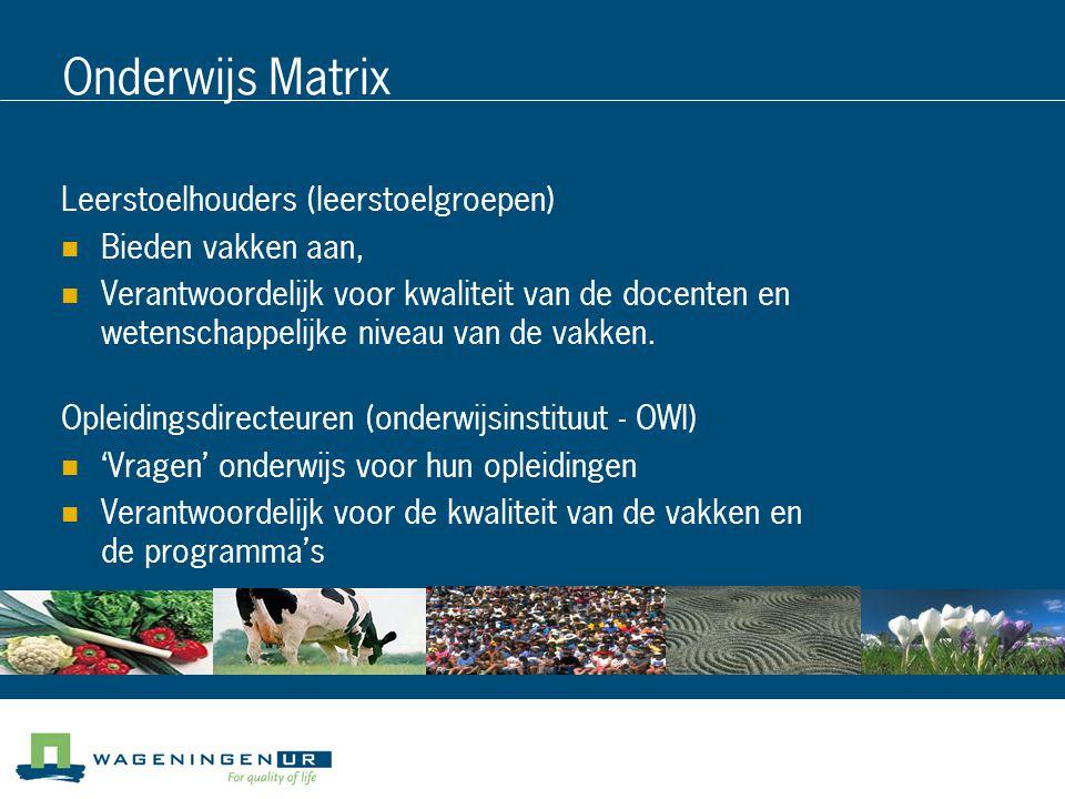 Onderwijs Matrix Leerstoelhouders (leerstoelgroepen) Bieden vakken aan, Verantwoordelijk voor kwaliteit van de docenten en wetenschappelijke niveau van de vakken.